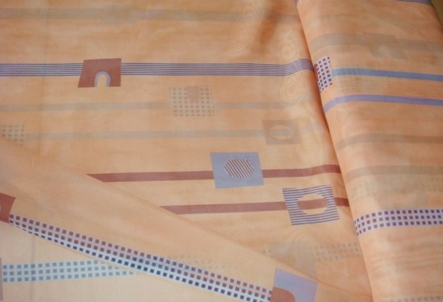 gardinenstoff terracotta gemustert grau braun meterware. Black Bedroom Furniture Sets. Home Design Ideas