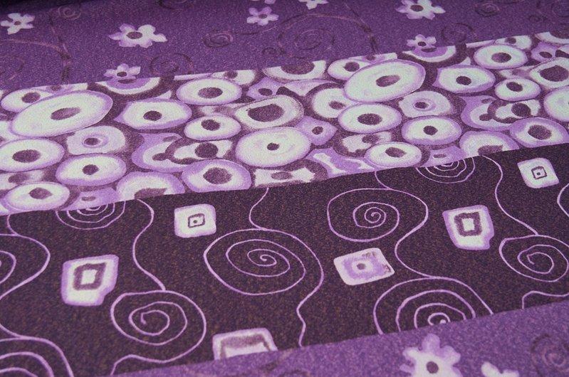 stretchstoff retro jersey stoff lila blumen. Black Bedroom Furniture Sets. Home Design Ideas