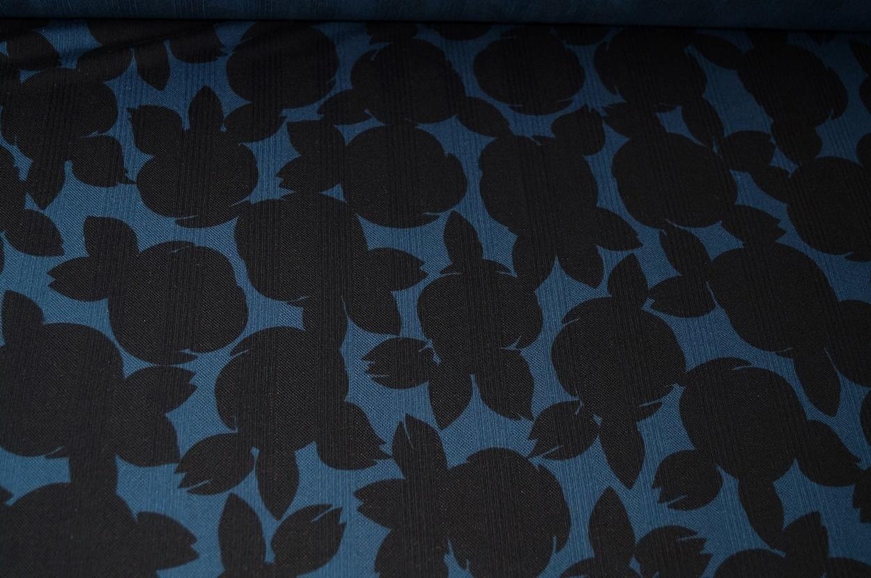 jersey baumwolle jersey stoff blau schwarz blumen. Black Bedroom Furniture Sets. Home Design Ideas