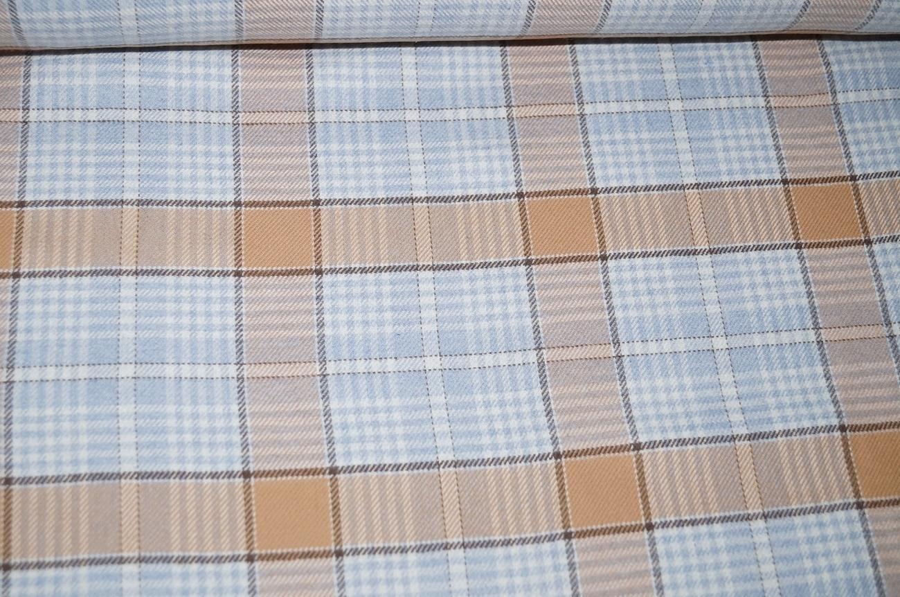 flanellstoffe baumwolle flanell stoff hellblau braun kariert. Black Bedroom Furniture Sets. Home Design Ideas