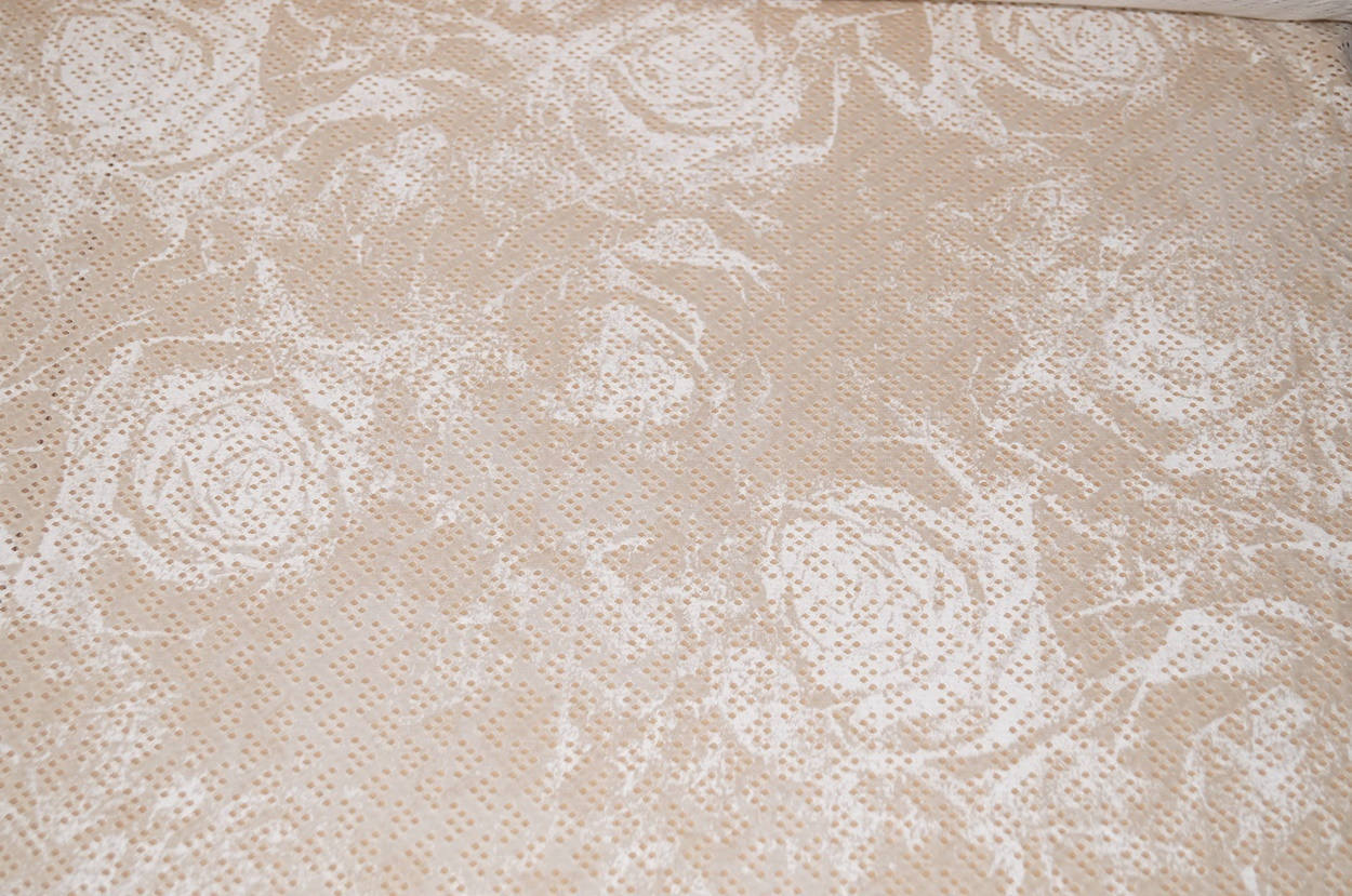 jersey stoffe jersey stoff beige blumen lochmuster. Black Bedroom Furniture Sets. Home Design Ideas