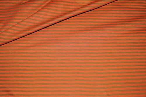 dünner Jersey Stoff orange-oliv gestreift